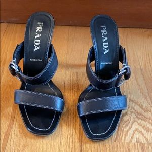 "PRADA 4"" heel/slide sandal with buckle # size 8"